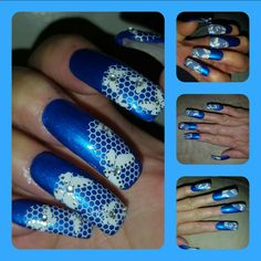Blue polish white lace w/ stones Nail Art Design on myself