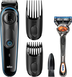 Braun - Wet/Dry Trimmer with 2 Guide Combs - Black/blue Long Beard Trimmer, Best Trimmer For Men, Braun Beard Trimmer, Electric Beard Trimmer, Shaving & Grooming, Grooming Kit, Mustache Grooming, Cleaning, Technology