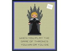 Queen Cersei Lannister on the Iron Throne Game of Thrones pattern by knottybytes. $3