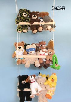 This cute stuffed animal swing provides a place to put cuddly toys besides the end of the bed (or floor, for that matter). Get the tutorial at It's Always Autumn.   - HouseBeautiful.com