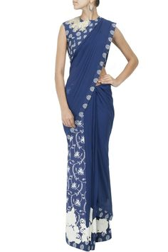 Blue georgette printed pre-stitched sari BY RIDHI MEHRA. Shop now at: www.perniaspopups... #indian #ridhimehra #india #designer #ethnic #amazing #beautiful #amazing #gorgous #perniaspopupshop #happyshopping