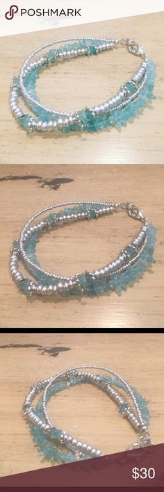 Apetite bracelet Three strands of beads. Apetite and czech glass beads make this bracelet your go to summer bracelet. Light and airy.  Perfect for that summer dress that needs that added touch of jewelry.  All handmade.  If not for you give it as a gift. Handmade Jewelry Bracelets