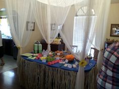 Jungle Babies themed baby shower Mosquito net over the table