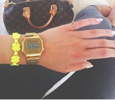 Gold color sporty watch