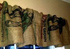 Repurposed Burlap Potato Sack Window Valance by ReclaimedGoods1, $35.00