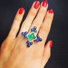 Colombian Emerald and sapphire ring   #emerald #sapphire #diamond #jewels #highendjewelry