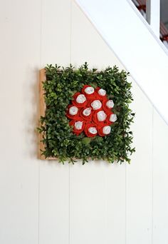 Romantic Framed Centerpiece or Wall Art with Red Felt Roses, Lace, Moss, and Greenery via Etsy