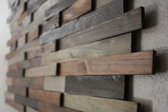 Wood Shim Wall Art. I want to do this for our headboard!!!