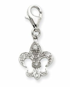 Sterling Silver CZ Fleur De lis Charm Real Goldia Designer Perfect Jewelry Gift goldia. $18.00