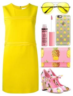 """WHEN PINK MET YELLOW"" by zayngirl27 ❤ liked on Polyvore featuring Victoria, Victoria Beckham, Dolce&Gabbana, Casetify, Charlotte Russe, yellow and Pink"