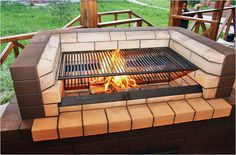 Photos outdoor barbecues at the cottage of brick and metal