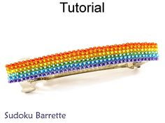 Sudoku French Hair Barrette Square Stitch Beading Tutorial Pattern | Simple Bead Patterns