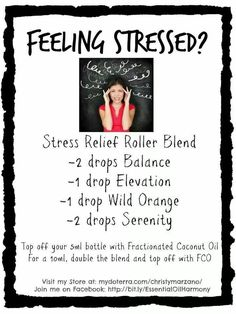 Stress relief rollerball blend - I use only doTerra's high-quality essential… Stress Relief Essential Oils, Doterra Essential Oils, Young Living Essential Oils, Essential Oil Blends, Doterra Blends, Doterra Oils, Doterra Diffuser, Roller Bottle Recipes, Essentials