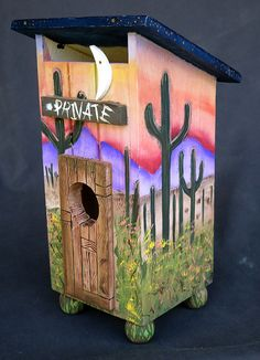 Privy Birdhouse, An Original, Hand Painted Southwestern Themed Outhouse…