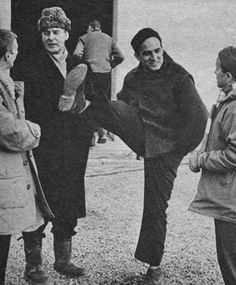 Allan Edwall, Gunnar Björnstrand and Ingmar Bergman on the set of Winter Light.