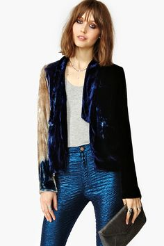 Nasty Gal, Moonlight Velvet Blazer, Insanely cool velvet blazer featuring a black, blue and cream dip dye print. Silk lining