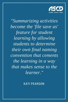 This is a great blog post on the importance of summarizing activities.