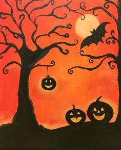 ^ 🎃 Yay, Halloween is coming and it's time to decorate your home. Painting this might really get you in a haunting frame of mind. In a brain eating, zombie apocalypse way, of course!🎃 love decorating so much! Halloween Canvas Paintings, Fall Canvas Painting, Halloween Painting, Halloween Drawings, Autumn Painting, Autumn Art, Canvas Art, Halloween Pictures To Draw, Canvas Ideas