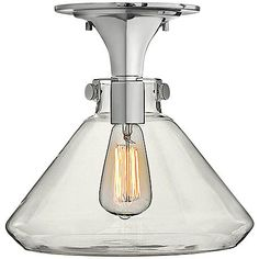 """Hinkley Congress Chrome 12"""" Wide Clear Glass Ceiling Light"""