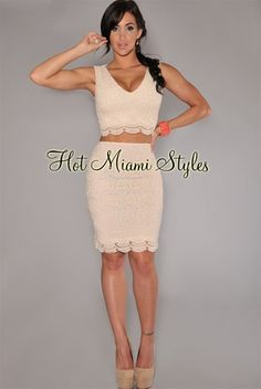 Cream Crocheted Lace Two Piece Set