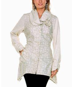 Beige Rose Linen Jacket - Women & Plus #zulily #zulilyfinds