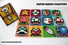 """Super Mario Perler Bead Coasters •Perler beads with instructions on melting, iron, """"pattern"""" (not actual pattern, but a pretty good visual of what you'll be doing)"""