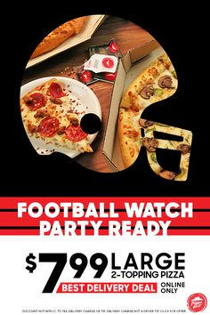 Watching the game from home this fall football season is the perfect time to take advantage of Pizza Hut's large $7.99 2-topping pizzas deal. Order online only. DELIVERY MIN & FEES APPLY. ADDIT. CHARGE FOR EXTRA CHEESE, STUFFED CRUST AND ADDIT. TOPPINGS. Partic. varies. Delivery charge not a driver tip.