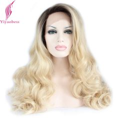 Yiyaobess Natural Brazilian Body Wave Synthetic Lace Front Wig Glueless Dark Brown Blonde Ombre Wigs For African American Women
