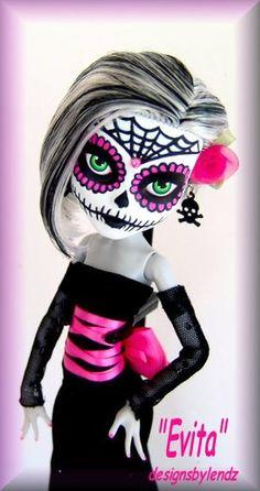 """OOAK Monster High Doll Repaint ** Sugar Skull ** """"Evita"""" by Designs by Lendz"""