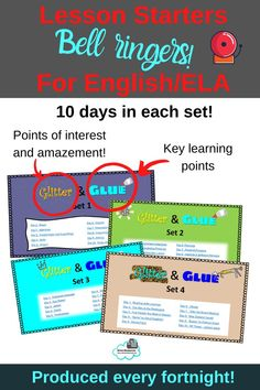 Glitter and Glue (Lesson Starters for English) High School Students, Student Work, Literacy Strategies, Interactive Student Notebooks, 6th Grade Ela, Teaching Themes, Bell Ringers, Middle School Reading, Math Lessons