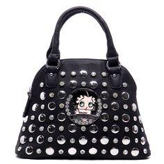 Black  Large Rhinestone Betty Boop Handbag, Zip top Closure New freeshipping  #740Boutique #ShoulderBag