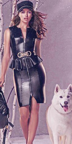 BEBE Leather Peplum Dress