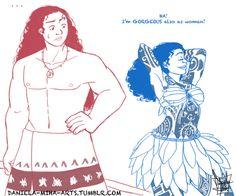 Genderbent Maui and Moana