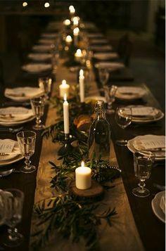 simple, elegant + rustic candle lit tablescape | gatherings + event ideas