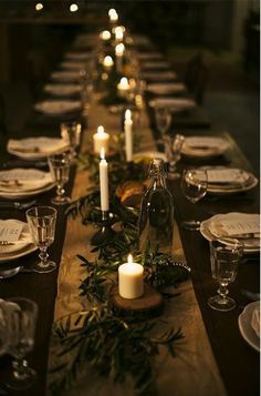 simple, elegant + rustic candle lit tablescape | gatherings + event ideas
