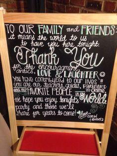 Thank you chalkboard #wedding #diy #chalkboard