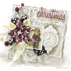 """This card combines @piondesign collections """"Scent of Lavender"""", """"Where the Roses Grow"""" and """"The Night Before Christmas"""". . . .  #handmadecard #cardmaking #papercraft #pion #piondesign #pionpapers #vintage #shabbychic #wildorchidcrafts #christmas"""