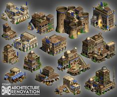 Architecture Renovation for Age of Empires 2 Rome Buildings, Buildings Artwork, Base Building, Building Games, Building Concept, Isometric Map, Isometric Design, Minecraft Creations, Minecraft Projects