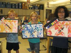 """Jamestown Elementary Art Blog: 3rd Grade """"Action Jackson"""" project - warm and cool colors, rainbow order, and self evaluations"""