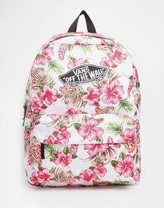 Vans Realm Backpack in Cream Hawaiian Print at asos.com #backpack #offduty #sunny #covetme