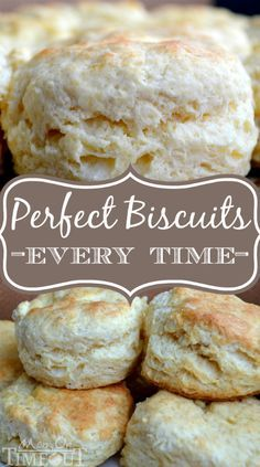 Easy Homemade Biscuits - Perfect Every Time! These never-fail bicuits are perfectly fluffy and light and a breeze to make! | Mom On Timeout