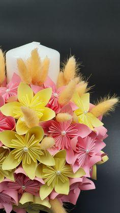 Lumanare Botez Flori Origami. Origami Flowers Origami, Handmade, Jewelry, Hand Made, Jewlery, Jewels, Paper Folding, Craft, Jewerly