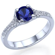Natural Real Round Cut Blue Sapphire Engagement Ring 14k White or Yellow Gold - With Selecting Center Sapphire