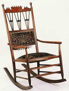 Eastlake maple rocking chair, 1880s.