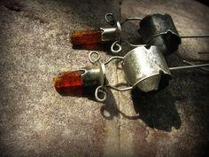 silver earrings with red kyanite от silversvet на Etsy