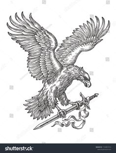 Hand drawn black and white illustration, flying eagle holding a sword. Nature Tattoo Sleeve, Nature Tattoos, Sleeve Tattoos, Tattoo Drawings, Tattoos Pics, Tatoos, Ave Tattoo, Eagle Drawing, Sword Drawing