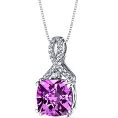 14K White Gold Created Pink Sapphire Pendant Ribbon Design Cushion Cut 4.25 Carats