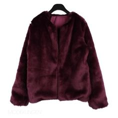 Jacket - Wine ($115) ❤ liked on Polyvore featuring outerwear, jackets, coats, tops, women, faux-leather jacket, fur jacket, purple jacket, faux fur jacket and purple fur jacket