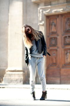 tailored track pants + moto jacket+black booties=my style right now....need pants that give ;)