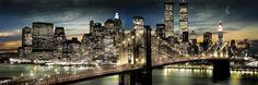 New York (Manhattan night&moon) - plakat - 158x53 cm  Gdzie kupić? www.eplakaty.pl